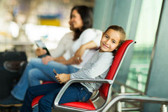 Little girl airport Royalty Free Stock Photos