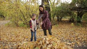 Little girl helps mom clean yellow leaves in the yard with a rake stock video footage