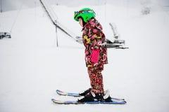 Little girl on Alpine ski Stock Photo