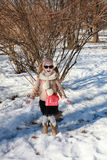A little girl is amazed when he sees snow Stock Photography