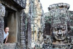 Angkor Wat temple. Little girl in ancient Angkor Wat temple in Siem Reap, Cambodia stock photos