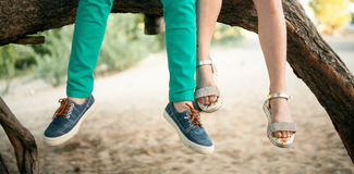 Free Little Girl And Boy Sit Side By Side On Tree Branch. Royalty Free Stock Image - 97544476