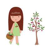 Little Girl And Cherry Tree Royalty Free Stock Photo