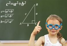 Little Girl And Green Blackboard. Wunderkind Royalty Free Stock Image
