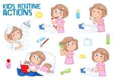 Free Little Girl And Her Daily Routine - White Background Royalty Free Stock Image - 106317026