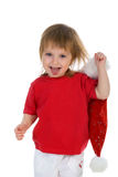 Little Girl And Santa Claus Hat Stock Photo