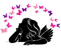 Little girl angel and Butterflies. Little girl angel silhouette and Butterflies Royalty Free Stock Images