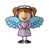 Little girl angel character Stock Photo