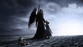 Little girl and angel. Gothic scene with winged dark angel, little girl and teddy bear royalty free illustration