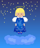 Little girl - angel in the night sky above the clouds. Stock Photo
