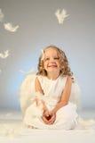 Little girl angel portrait royalty free stock photos