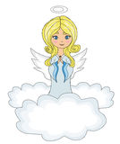 Little girl angel Praying while Kneeling on the Clouds Royalty Free Stock Images