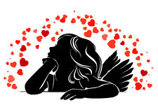 Little girl angel in red hearts. Silhouette little girl angel in red hearts Stock Images