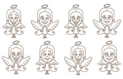 Little girl angel set. Vector illustration on white background Stock Image