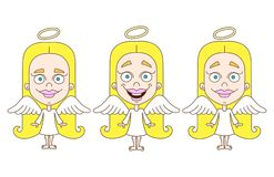 Little girl angel set. Vector illustration on white background Stock Images