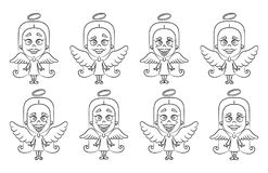 Little girl angel set. Vector illustration on white background Royalty Free Stock Photos
