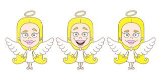 Little girl angel set. Vector illustration on white background Royalty Free Stock Image
