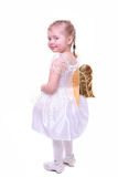Little girl with angel wings. Isolated on white little girl with angel wings Royalty Free Stock Image
