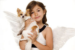 Little girl with angel wings royalty free stock photos