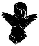 Little girl angel with wings. Little girl silhouette angel with wings Stock Images
