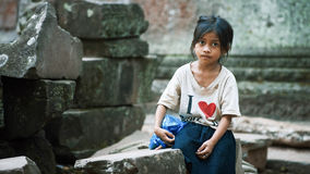 Little girl in Angkor Wat Royalty Free Stock Images
