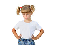 The little girl is angry stock photography