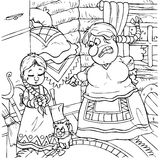 Little girl and angry stepmother. Black-and-white illustration (coloring page) with the characters of a folk tale: small girl and her angry stepmother Royalty Free Stock Photography