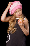 Little girl with apple Royalty Free Stock Photo