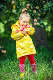 Little girl in the apple garden Stock Photo