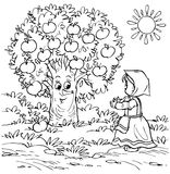 Little girl and apple tree. Black-and-white illustration (coloring page) with characters of a folk tale: little girl talking to an apple tree Royalty Free Stock Images