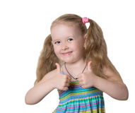 Little girl appreciates perfectly Stock Photography