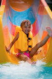 Little girl at aqua park Royalty Free Stock Photo
