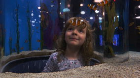 Little Girl in Aquarium Tube stock footage