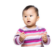 Little girl with arm fist Royalty Free Stock Photography