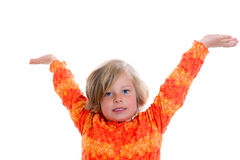 Little girl with arms in the air. Little nice girl in front of white background with arms in the air Royalty Free Stock Image