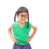 Little girl arms akimbo. Little asian girl with arms akimbo isolated on white background Stock Photography