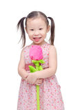 Little girl with artificial rose flower Royalty Free Stock Photography