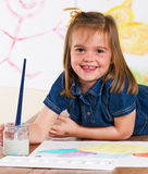 Little Girl Artist Painting Pictures Stock Image