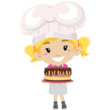 Little Girl as Pastry Chef holding a Cake. Vector Illustration of Little Girl as Pastry Chef holding a Cake Stock Images