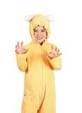 Little girl as teddy bear Stock Photo