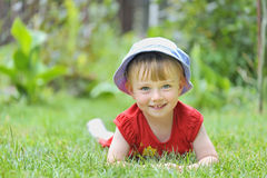 Little girl attitude. Play in garden royalty free stock photography
