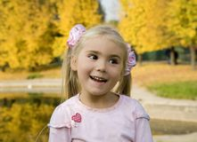 Little girl in autumn. Portrait of little girl in the late of autumn Stock Image