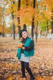 Little girl at autumn holding leaves. The little girl in the brown beret in autumn Park stock image