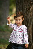 Little girl with autumn leaf Royalty Free Stock Images