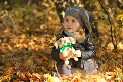 Little girl in autumn leaves Stock Photo