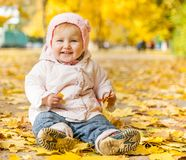 Little girl among autumn leaves Royalty Free Stock Images