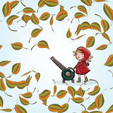 Little girl and autumn leaves Royalty Free Stock Photo