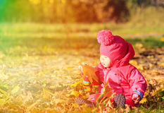 Little girl in autumn leaves Stock Images