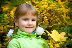 Little girl in autumn park Royalty Free Stock Image