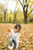 Little girl in the autumn park royalty free stock photo